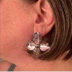 Shiny Silvertone Flower Earrings!